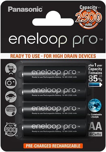 Panasonic Eneloop Pro BK-3HCDE/4BE - Pack 4 pilas recargables AA 2500 mAh