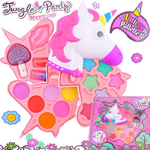 Einhorn Kinderschminke Set Mädchen Einhornkopf Koffer Kosmetik Make up Schminke Lippglosss Schminkkoffer