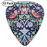William Morris Strawberry Thief Guitar Picks, 0.46mm 0.71mm 0.96mm, Pack de 12 médiators avec médiators et porte-médiators