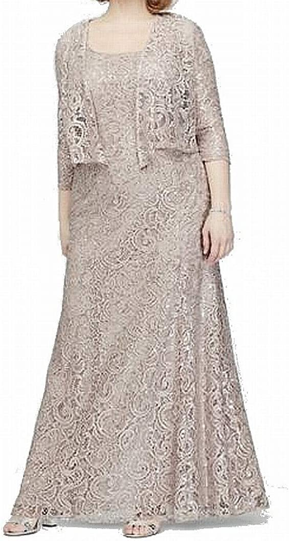 Alex Evenings Women's Plus Size Two-Piece Set with Long Dress and Jacket