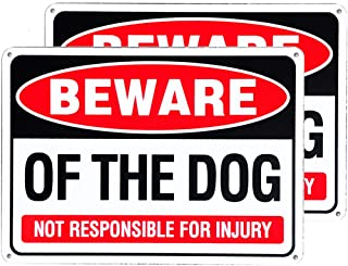 MC Beware of Dog Sign 2-Pack, Rust Free Aluminum Warning Dog Sign - 10 x 7 in.Durable Weatherproof Sturdy Metal Sign for O...