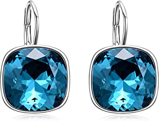 AOBOCO 925 Sterling Silver Leverback Earrings with Square Swarovski Crystal, Hypoallergenic Classic Vintage Cushion Cut Earrings, Jewelry Gifts for Women