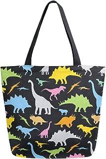 ZZKKO Colorful Dinosaur Canvas Tote Grocery Bag Shoulder Casual Book Bag Large for Women Teachers, Animal Cotton Bag Shopping Purse Handbag Reusable Multipurpose Use
