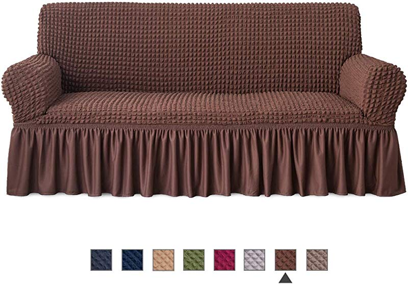NICEEC Sofa Slipcover Brown Sofa Cover 1 Piece Easy Fitted Sofa Couch Cover Universal High Stretchable Durable Furniture Protector With Skirt Country Style 3 Seater Chocolate Brown