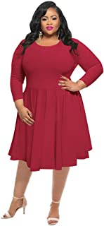 HPLY Women Classy Dresses Sexy Casual Plus Size Swing Dresses
