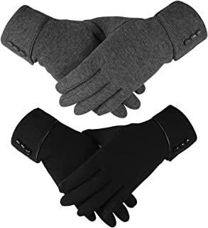 Hicdaw 2Pairs Touchscreen Gloves Winter Gloves for Women Warm Touchscreen Gloves Windproof Gloves Gift for Women