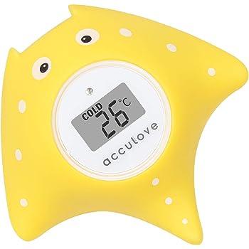 Thermomètre de bain et de chambre Acculove pour bébé,thermometre bain, thermomètre de bain flottant pour baignoire et piscine, dessin de poisson jaune