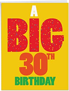 30th Birthday Greeting Card With Envelope 8.5 x 11 Inch - Humorous 'Big 30 Birthday' Happy Congratulations Card - Multicolored Confetti in BIG Congratulations Letters - HBD Cards J3898BDG