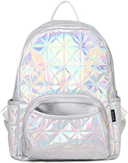 Woman Holographic Laser Laptop Backpack Travel Casual Daypack College School Bags(Silver)