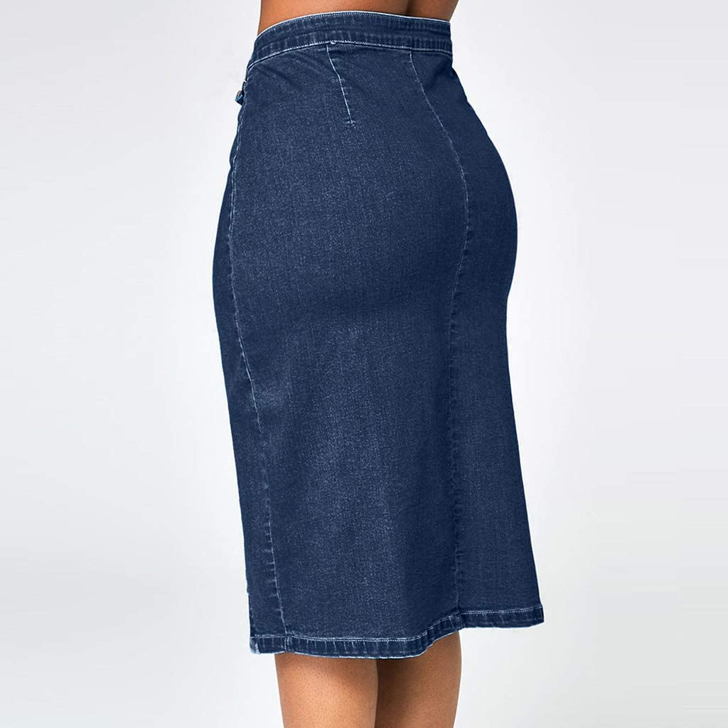 Women's Bodycon Front Split Frayed Dark Washed Midi Denim Pencil Skirt