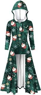 Christmas Print Women Hooded Plus Size Vintage Cloak High Low Dress Blouse Sweatshirt Hooded Pullover Coat