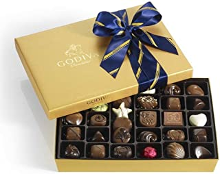 Godiva Chocolatier Assorted Chocolate Gold Gift Box, Striped Ribbon, Great Gift, Father's Day Gift, 36 Count, Gift Set 2