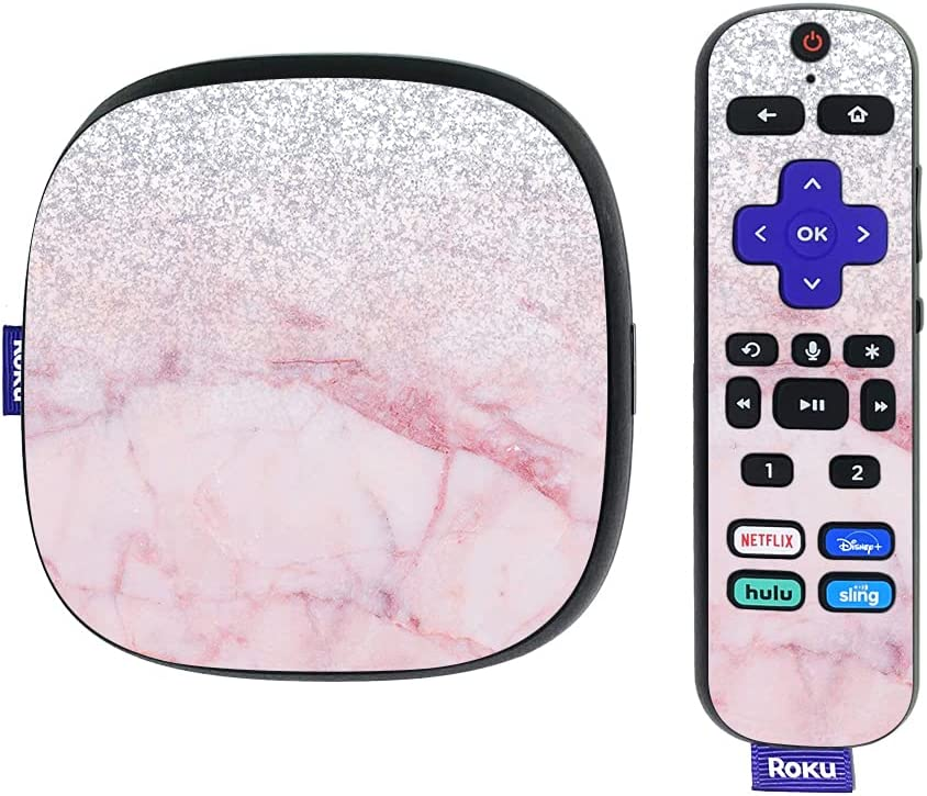 MightySkins Skin Compatible with Roku Ultra HDR 4K Streaming Media Player (2020) - Girly Marble Dazzle   Protective, Durable, and Unique Vinyl Decal wrap Cover   Easy to Apply   Made in The USA