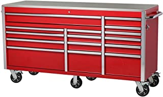 72 in. W x 24 in. D 15-Drawer Mobile Workbench with Stainless Steel Top