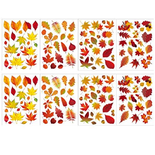 Excras Yumira 8 Blätter Ahornblätter Fenster Aufkleber, Herbst Fensterbilder Thanksgiving Fenster Dekorationen Herbstblätter Fensterabziehbilder Herbstdekor Partydekoration