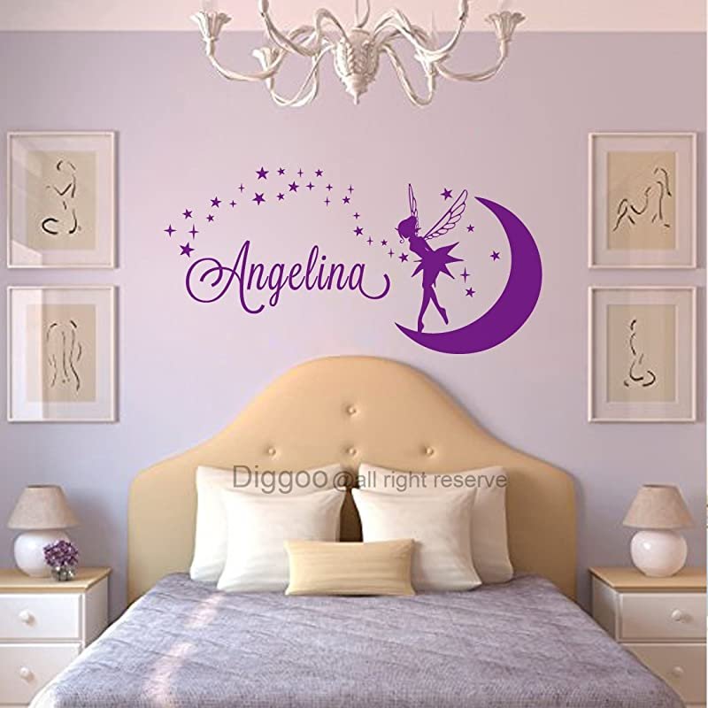 Name Wall Decal Tinkerbell Fairy Silhouette Moon Girl Vinyl Decals Sticker Magic Little Princess Nursery Decor 11 H X 22 W Plus Free Welcome Door Decal
