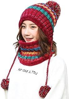 Beautyfine ❤Fashion Fleece Knit Hat Women Beanie and Scarf Set Girl Winter Lined Ski Hat with Earflap Pompom
