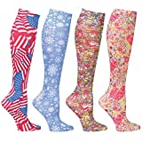 Celeste Stein Designs Women's Mild Compression Wide Calf Knee High Support Socks - Fun Print Set of 4