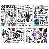 Hakuna テンポラリータトゥー ステッカー 5枚 - 黒と鮮やかな色の100枚以上のクールなフェイクタトゥー デザイン タイプ: 羽、鹿、鳥、葉、トンボ、錨、矢、文字、シンボルなど