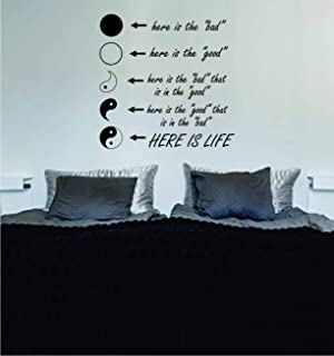Decals Vinyl Stickers Yin Yang Here is Life Quote Wall Decal Sticker Bedroom Home Room Art Vinyl Inspirational Decor Yoga Funny Namaste Flower Fast Delivery Made in USA