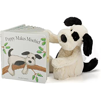 Jellycat Puppy Makes Mischief Board Book and Bashful Black and Cream Puppy, Medium 12 inches