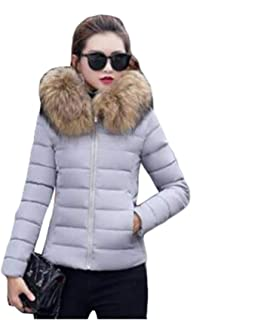 Dooxi Ladies Short Faux Fur Hooded Padded Quilted Zip Up Parka Jacket Coat Hooded Outwear Solid Color