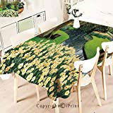 Pretty Pattern Multi Functional Table Cloth Table Cover,Garden in Recreation Park with Fresh for Party Picnic Dining Weddings Christmas,W55 xL71,Green Brown