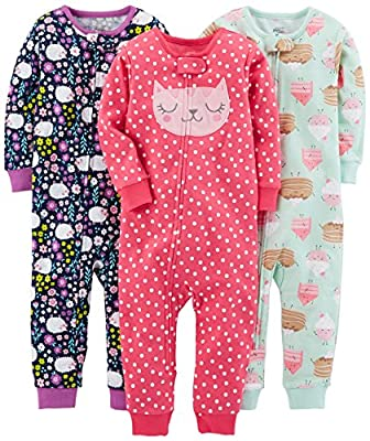 Simple Joys by Carter's Baby Girls' Toddler 3-Pack Snug Fit Footless Cotton Pajamas, Sweets/Floral/Kitty, 3T