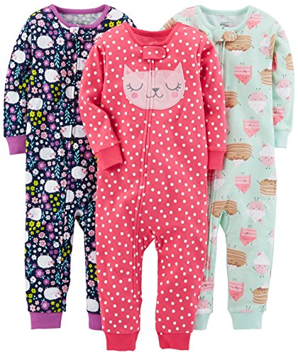 Simple Joys by Carter's Baby Mädchen 3-pack Snug Fit Footless Cotton Pajamas infant-and-toddler-pajama, Sweets/Floral/Kitty, 12 Monat (72 CM)