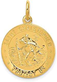 IceCarats 24k Gold Plated 925 Sterling Silver Saint Christopher Medal Necklace Pendant Charm