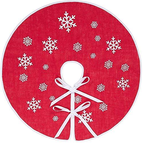 N&T NIETING 75cm Weihnachtsbaum Rock Rot Sackleinen Weihnachtsbaumteppich Ornamente Dekoration für Weihnachten