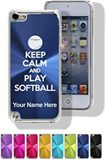 Case Compatible with iPod Touch 5th/6th/7th Gen, Keep Calm and Play Softball, Personalized Engraving Included