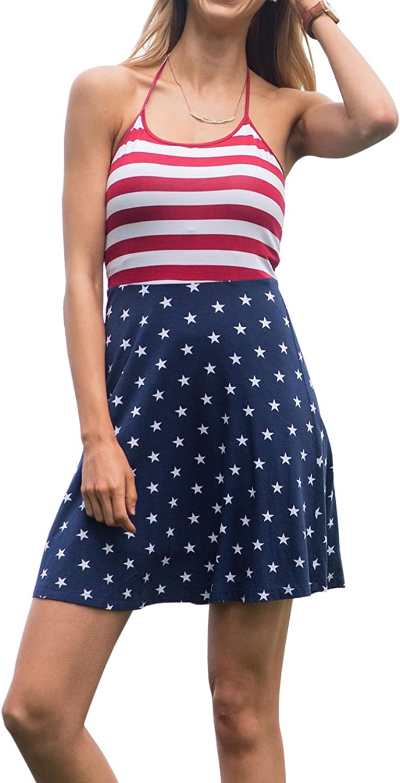 Gemijack Womens American Flag Dress Red White and bluee Fourth of July Patriotic Sleeveless Midi Dresses