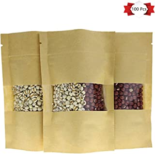 100 Pack Kraft Paper Bags All Purpose Store Food Resealable Mylar Zip Lock Sealing Pouches with Notch Matte Transparent Window, 3.5x 5.9 Inches