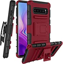 CaseTank for Samsung Galaxy S10 Plus/ Galaxy S10+ Case W [Built-in Kickstand] Rotatable Combo Holster Phone Belt Clip Shock Absorption Heavy Duty Protective case, PC-Red