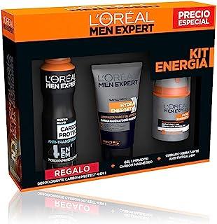 LOréal Paris Men Expert Hydra Energetic - Kit de Energía Crema Hidratante Gel Limpiador y Regalo Desodorante