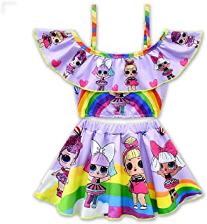 Toddler Baby Girls Swimsuits Two Piece Doll Print Ruffle Swimwear Bathing Suit for Doll Surprised