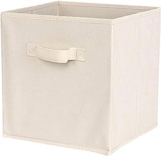 Tissu Panier Bin Boîtes De Rangement De Rangement Pliable Cubes Organisateur Avec Poignées Blanc Boîte De Rangement Avec C...