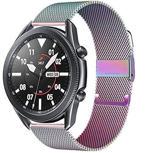 SGGFA MILANESE Boop 20mm 22mm Strap para Samsung Galaxy Watch 3 45mm 46mm Gear S3 Frontier Active 2 42mm Pulsera para Huawei GT / 2/2E (Band Color : Colorful, Band Width : 20mm)