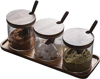 TentHome Pots en Verre à Épices 3 Bocaux en Verre à Condiments avec Cuillères en Bois et Étagère pour Cuisine