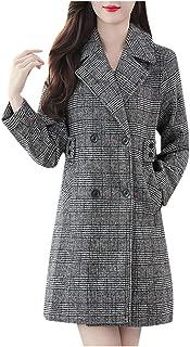 vkjany Wool Coat for Women Plus Size Oversize Lapel Cashmere Wool Blend Belt Trench Coat Outwear Jacket