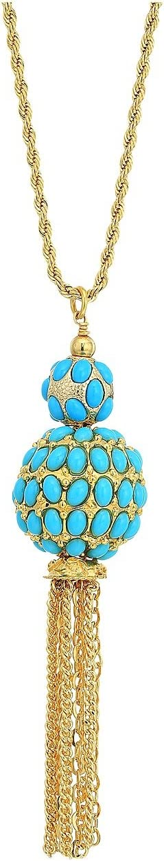"33"" Gold Chain with Double Turquoise Cabochon Ball/Gold Chain Tassel Pendant Necklace"