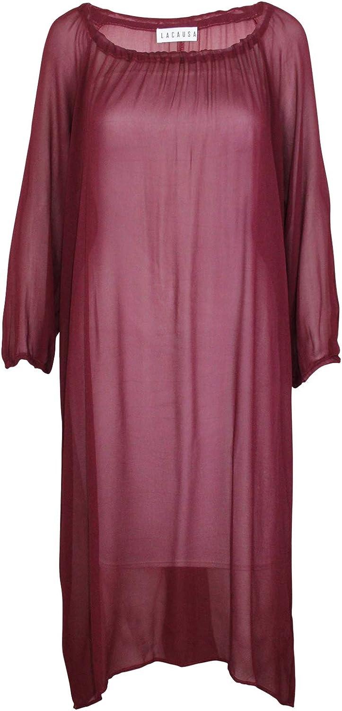 Lacausa Womens Gathered Neckline Dress Burgundy Extra Small, Small, Medium, Large