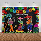 CHAIYA 7X5ft Day of The Dead Backdrop Mexican Background Skull Flowers Buntings Dia DE Los Muertos Decorations Family Party Supplies Fiesta Banner Decoration CY131