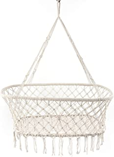 Here&There Macrame Cradle Hanging Bassinet Portable Baby Handmade Natural Cotton Swing Hammock Large Weight Capacity Hanging Crib Indoor Outdoor