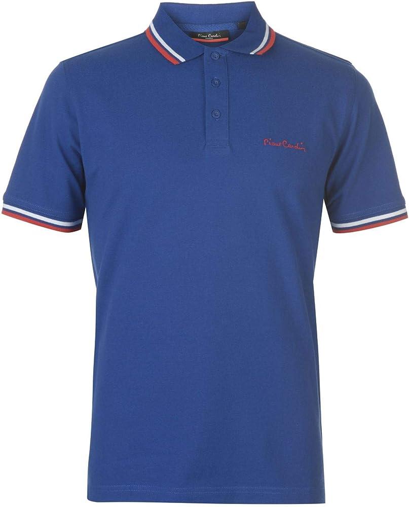 Pierre cardin, polo a manica corta, maglietta per uomo, 65% poliestere, 35% cotone, bleu roi 1 B000413B