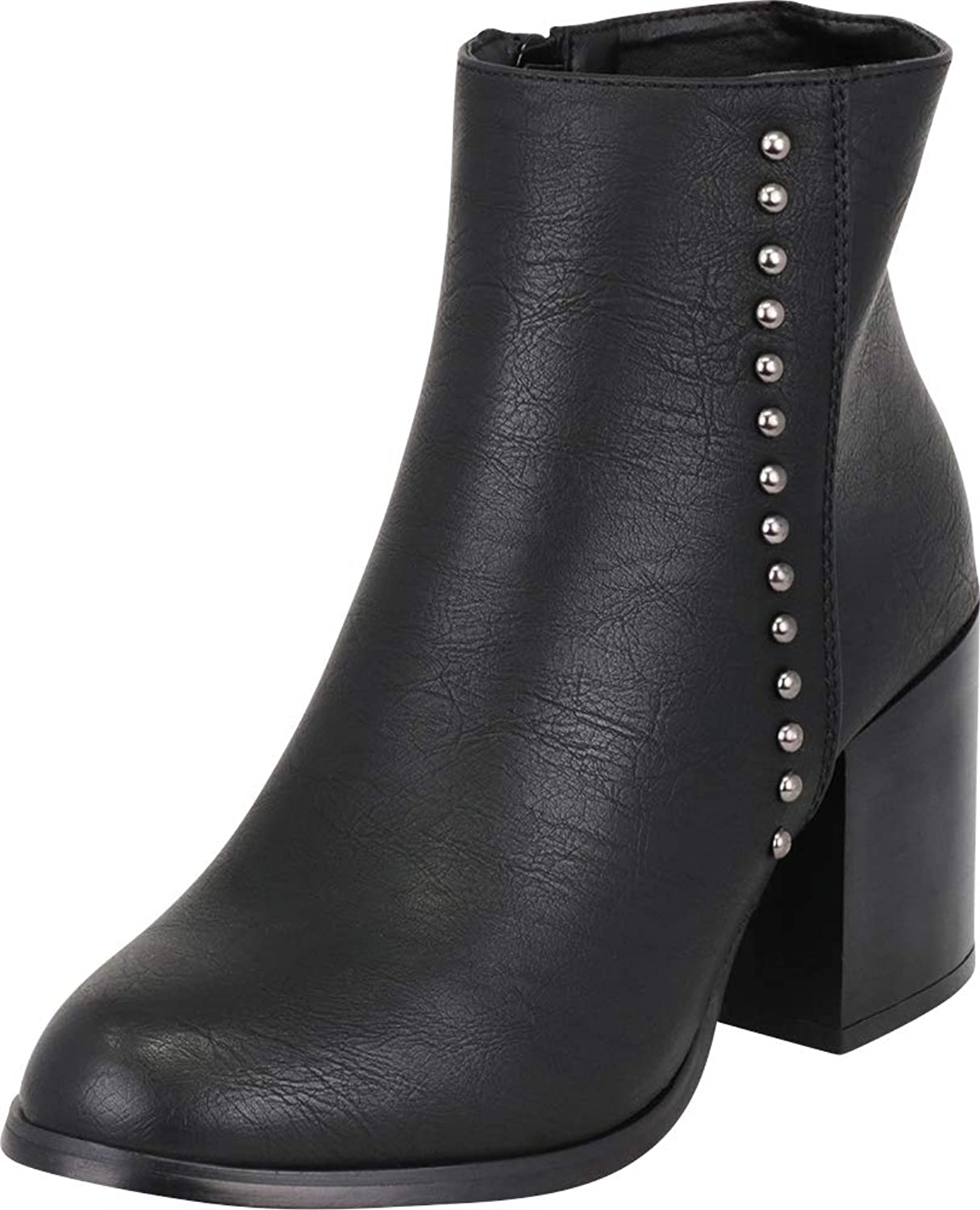Cambridge Select Women's Western Distressed Dome Studded Chunky Heel Ankle Bootie