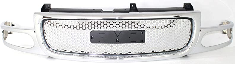 Grille Assembly Compatible with 2003-2006 GMC Sierra 1500 Chrome Shell and Insert with Denali Pkg