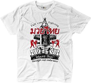KiarenzaFD T-Shirt Muay Thai Clinch Fighter Boxing Ring Fighting MMA White Uomo