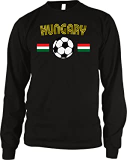 Amdesco Hungary Soccer/Football and Flag Men's Long Sleeve Thermal Shirt